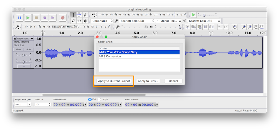 Applying effect chains in Audacity