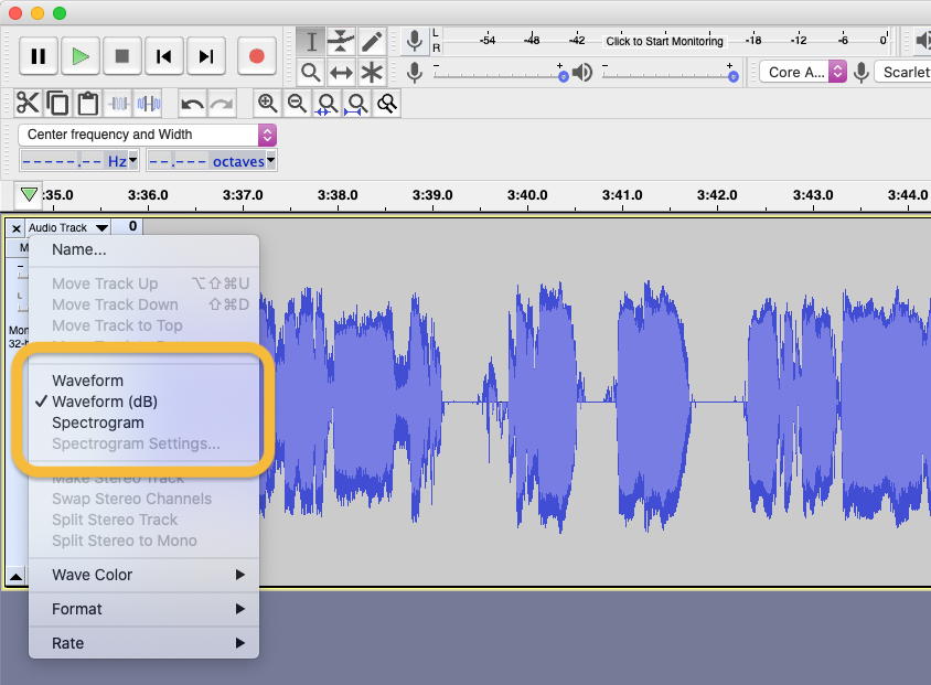 Viewing a track as a waveform db in Audacity