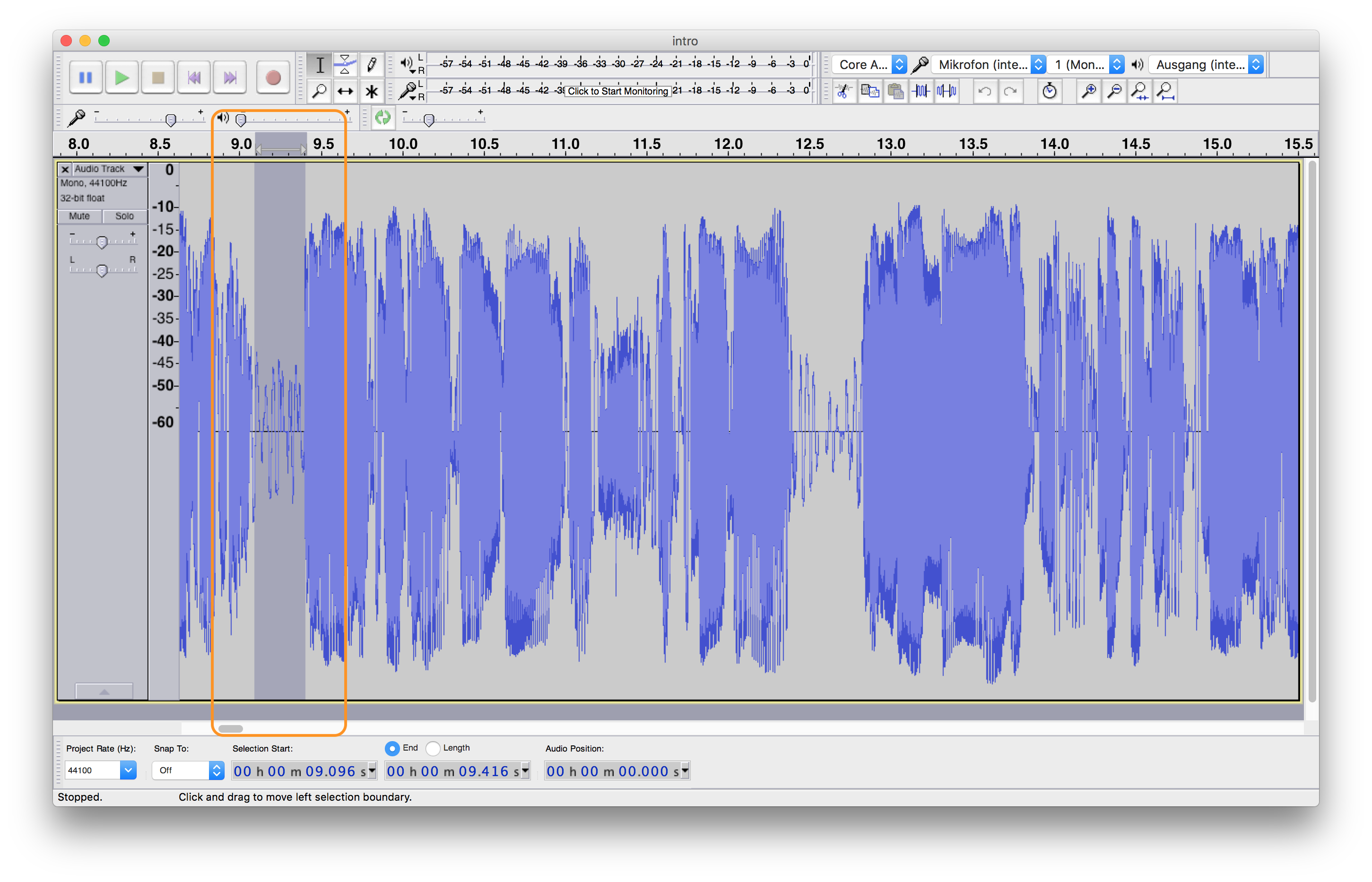 Finding a maximum volume level for applying a noise gate in Audacity DAW