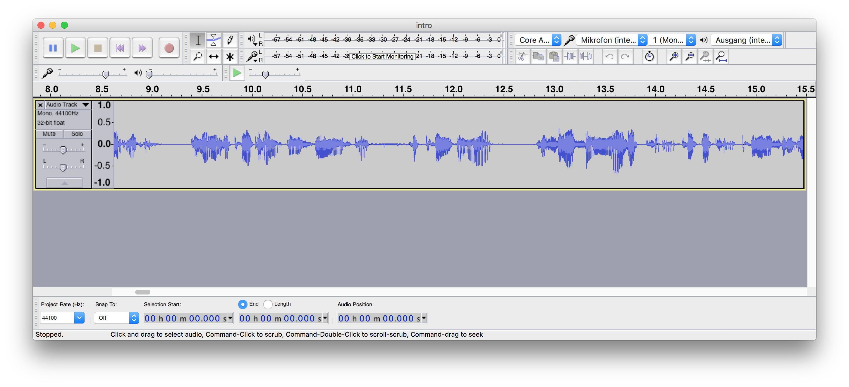 Opening an audio file in Audacity