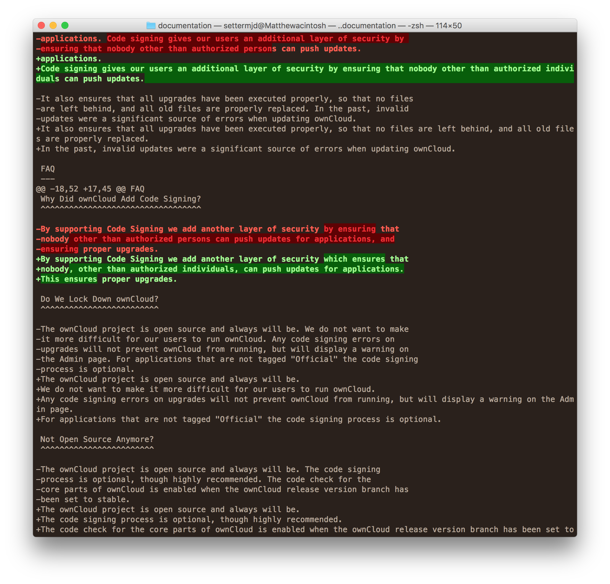 Git's diff output, using diff-highlight as the pager