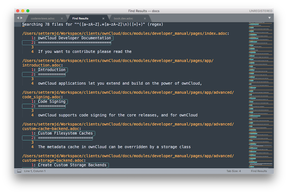 Doing a project-wide find and replace, using a regular expression, with SublimeText 3